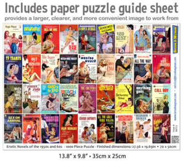 Vintage Adult Book Covers Jigsaw Puzzle Guide Insert
