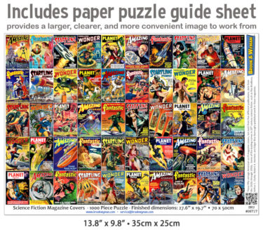 Science Fiction Magazine Covers 1000 Piece Jigsaw Puzzle Guide Insert