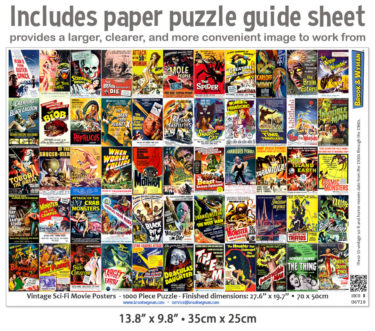 Vintage Science Fiction Movie Posters 1000 Piece Jigsaw Puzzle Guide Insert