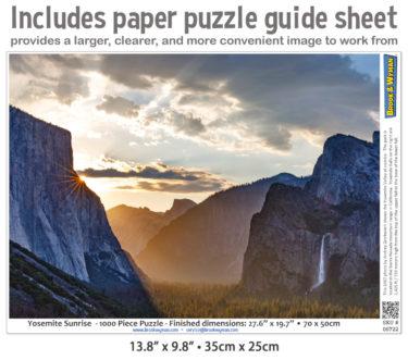 Yosemite Sunrise 1000 Piece Jigsaw Puzzle Guide Insert